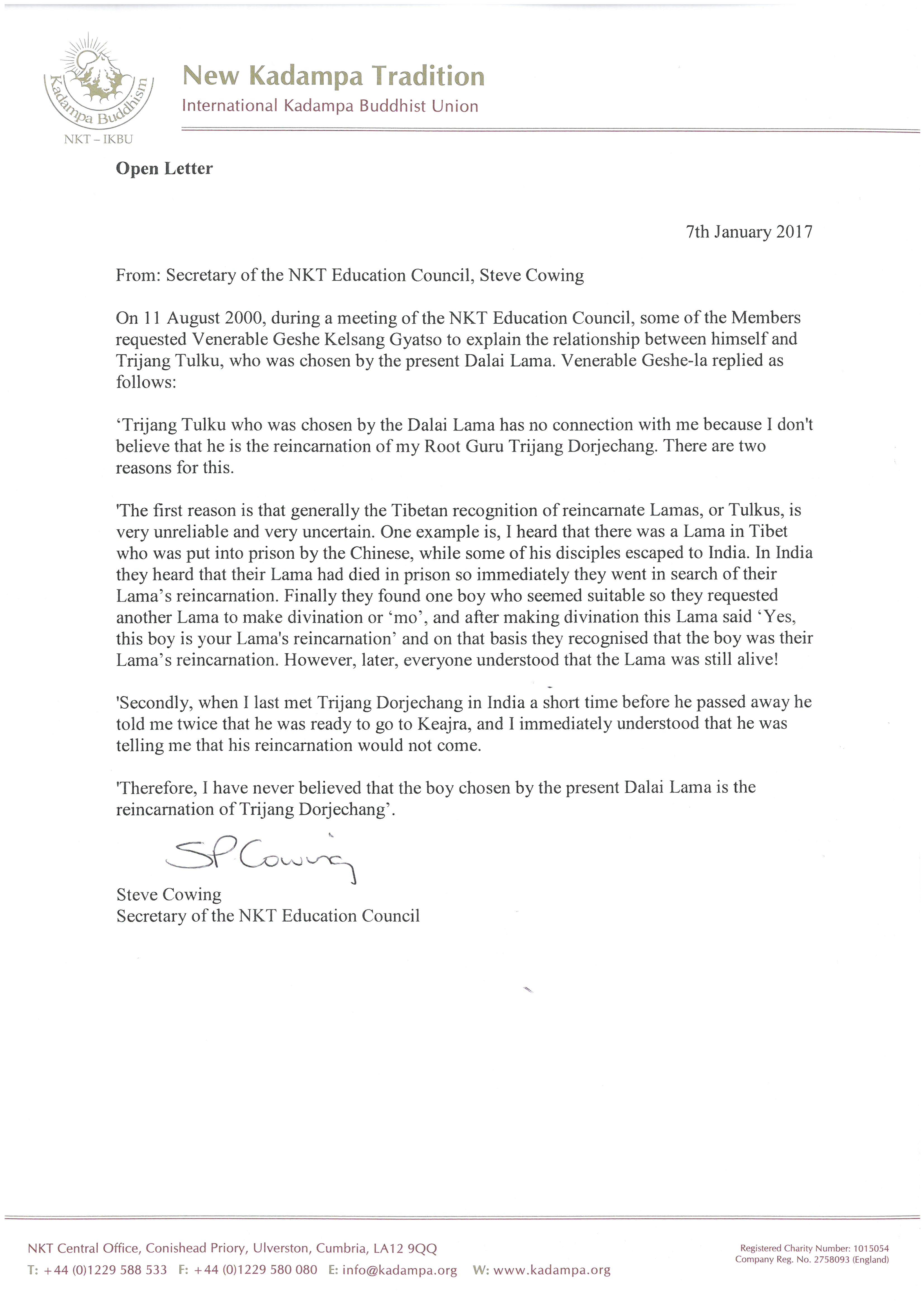 Open Letter  Kadampa Buddhism