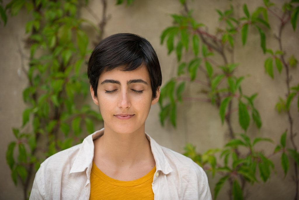 Woman in meditation and mindfulness training