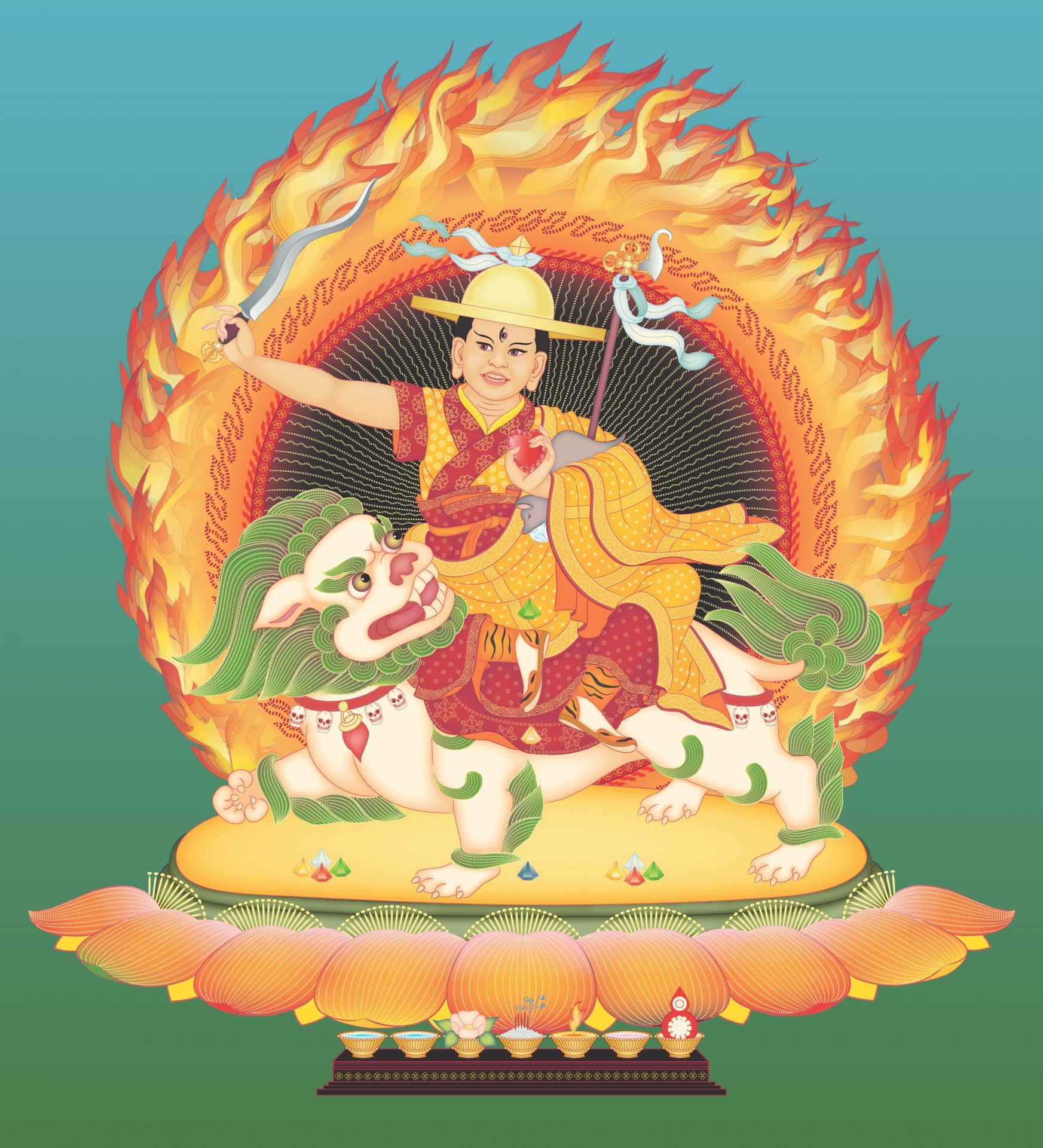 Dorje Shugden 4 with offerings and background