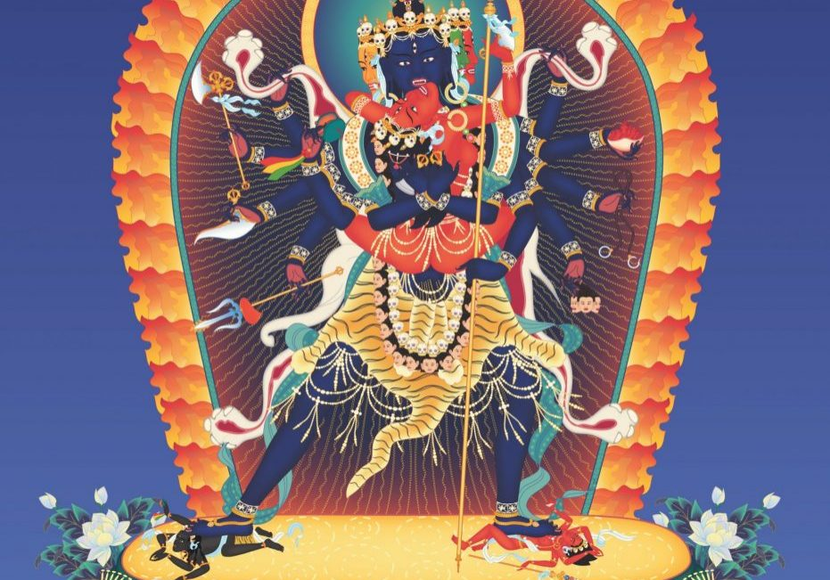 Heruka 12-armed 3 with offerings and background